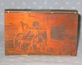 Antique Letter Press Metal on Wood Block Stamp Advertising Newspaper - Copper Photograph Men Bridge Sawmill
