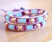 Violet Blue Pearl Beaded leather wrap bracelet, Bohemian wedding, boho chic, gift idea, silver flower, trendy jewelry, hipster