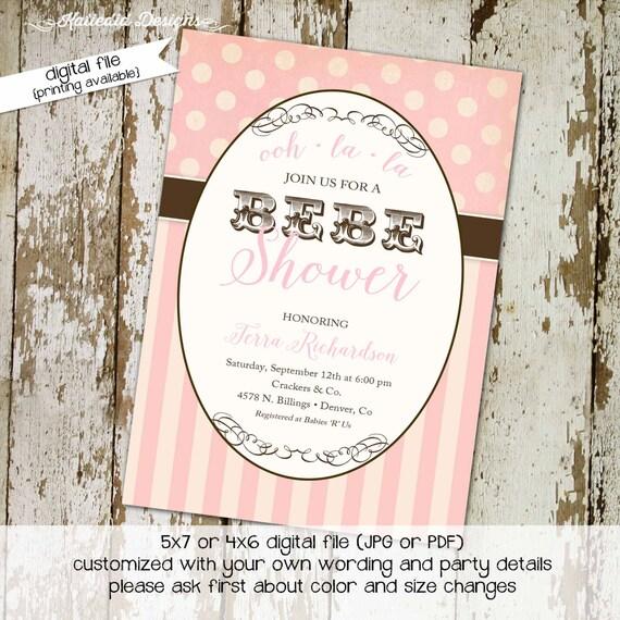 baby girl shower invitation BEBE paris pink polka dots stripe circus vintage carnival diaper couples (item 1377) shabby chic invitations