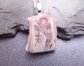 Scottish Beach Pottery Shard Necklace Angel from The Book Of Kells Celtic Jewelry BEST SELLER