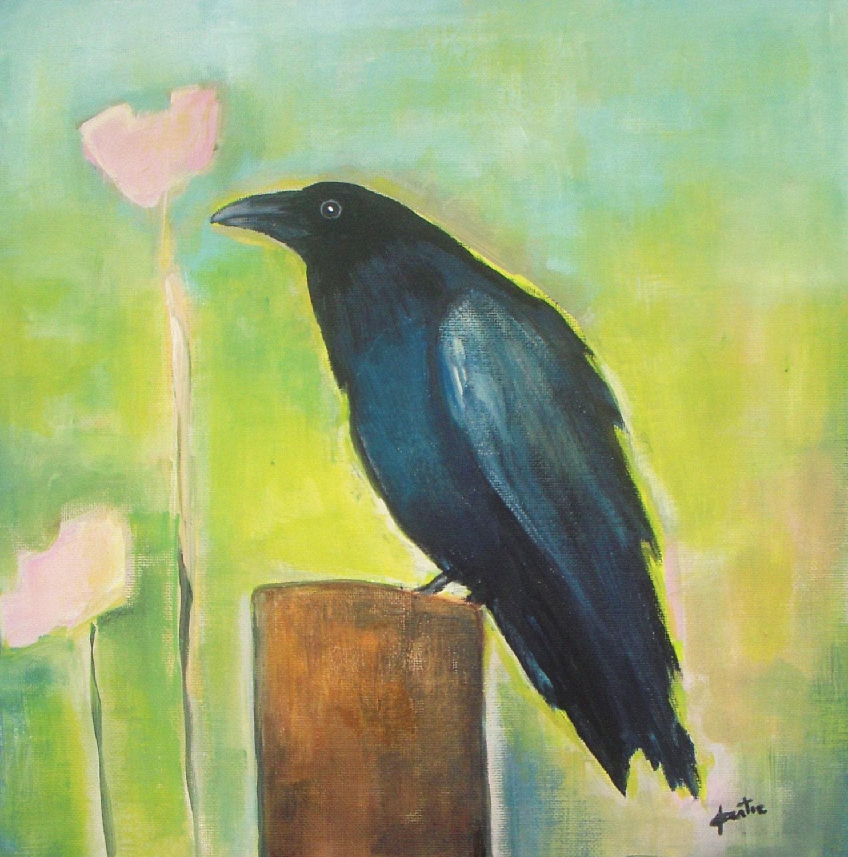 Original Acrylic Painting Raven Bird Painting on canvas