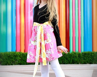Upcycled carrousel dress with belt