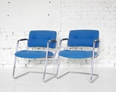 Vintage Pair of Bright Blue Tubular SteelCase Arm Chairs - Office // Desk Chair