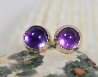 Amethyst Stud Earrings 6.8mm Sterling Silver Amethyst Earrings Amethyst Jewelry