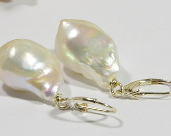 Baroque Pearl Earrings Sterling Silver Handmade Jewelry Freshwater Pearl Jewelry