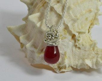 Raspberry Red Onyx Drop Wire Wrapped silver art Single Pendant Birthstone Jewelry Gemstone Pendant