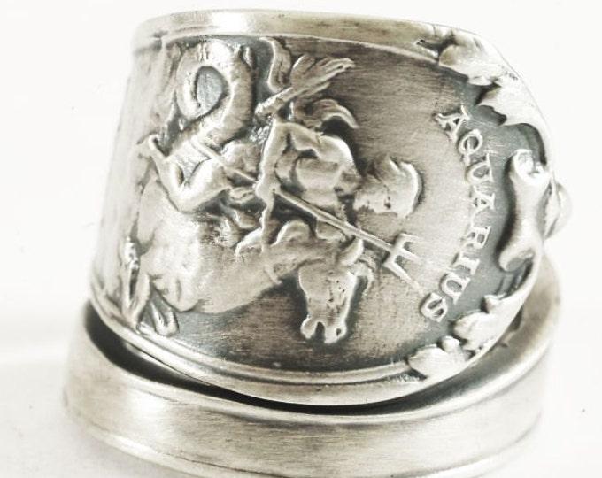 Aquarius Ring, Zodiac Ring, Sterling Silver Spoon Ring, Poseidon Trident, Sea Horse, January Jewelry, Aquarius Jewelry, Adjustable Ring 3156