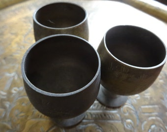 Vintage English brass small goblets beakers mugs circa 1950's / English Shop