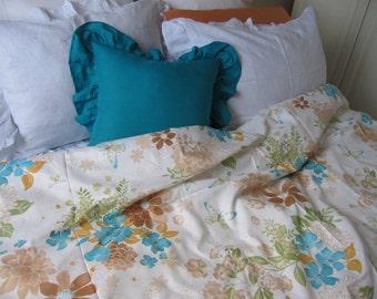 Cute spring flowers /cream Blue brown beige orange floral butterfly print duvet cover king/queen/full/Twin shabby chic bedding Nurdanceyiz