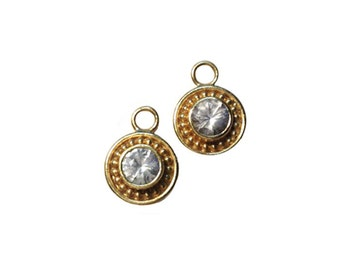 22k White Sapphire Dangles to Wear on Hoops