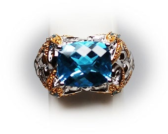 Sterling Silver 12 X 9 mm Cushion Cut London Blue Topaz Ring