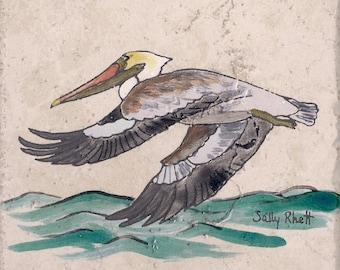 "Flying Pelican Backsplash Tile #4 6""x6"" handpainted ceramic tile Ceramics and Pottery Beach Home Improvement Trivet Kitchen and Dining"