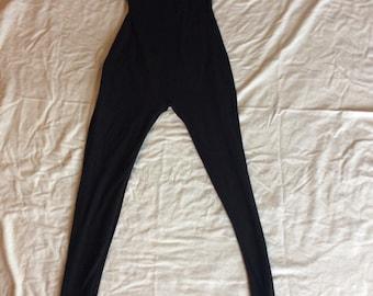 Unitard black woman's eighties workout fitness gear