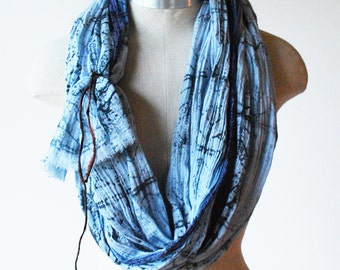Indigo scarf, hand printed scarf, screen printed scarf, boho fashion, faded blue