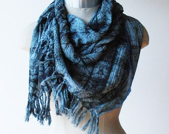 Boho cotton scarf, screen printed scarf, urban fashion scarves, faded blue scarf, fringed scarf
