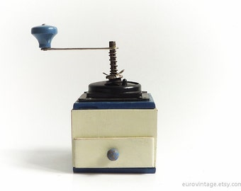 Vintage Coffee Grinder Wooden Coffee Mill White Blue Black