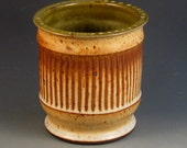 Vase With Carved Texturing, Slip Work, Soft Brown Glaze With Specks, Ready To Ship