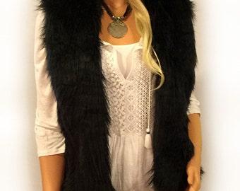Faux Fur Vest Hip Length In Black Angora  Style: FVA502