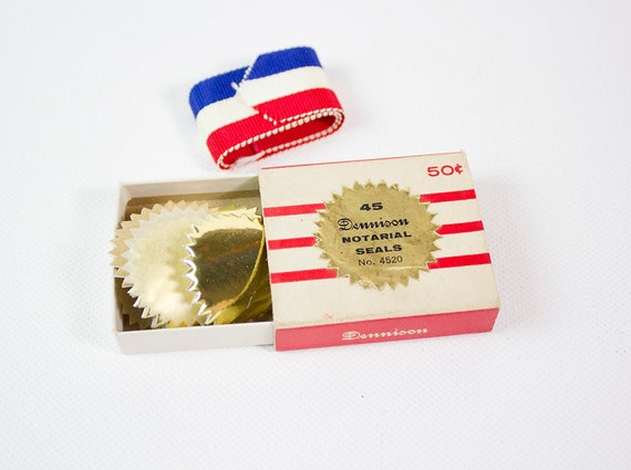 SALE: Vintage Dennison Gold Foil Notarial Seals No. 4520