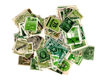 100 Green International Postage Stamps