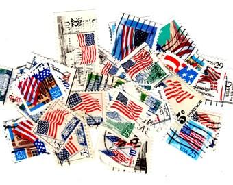 40 American Flag Vintage United States Postage Stamps