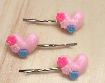 Adorable soft pink heart bobby pins