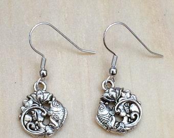 Gorgeous koi and lotus dangle earrings