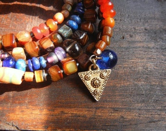 Multi Strand Cuff Wrap Bracelet with Mixed Gemstones, African Glass and Charms - Fall Colors Gypsy Boho Jewelry