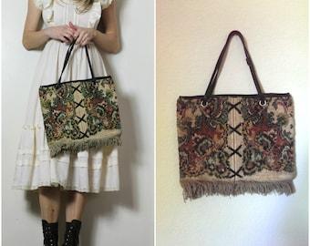 Free Spirit Vintage Tapestry Carpet Bag Lace Up Festival Hippie Handbag Boho Tote