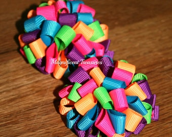 Neon Loopy Puff Bows
