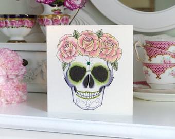 Sugar Skull with Rose Crown Tattoo Luxury Handmade birthday Card