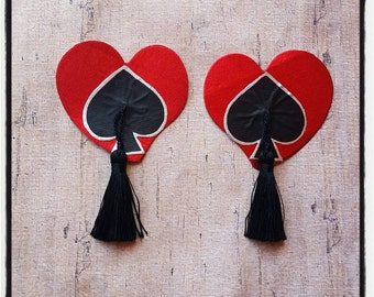 Heart and spade pasties with tasselss
