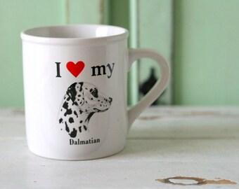 I love my DALMATIAN MUG....dog print. retro housewares. kitsch. animal print. dog. puppy. gift. for him. for her. dog lovers. kawaii. kitsch