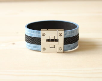 Three Lined Lizard Leather Bracelet(Blue)
