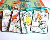 Mermaid Gift Tags - Vintage Retro Little Girl Mermaids Ocean Maritime Maps Pirate Ships Seashell Starfish - Set Of 4 Large Assorted Tags