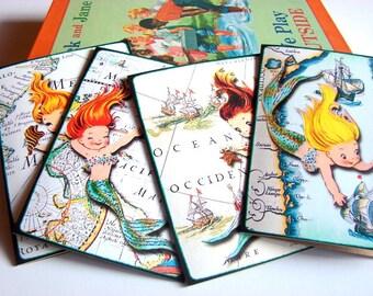 Mermaid Note Card Set - Vintage Retro Little Girl Mermaids Ocean Maritime Maps Pirate Ships Seashell Starfish - 4 Sm Greeting Cards