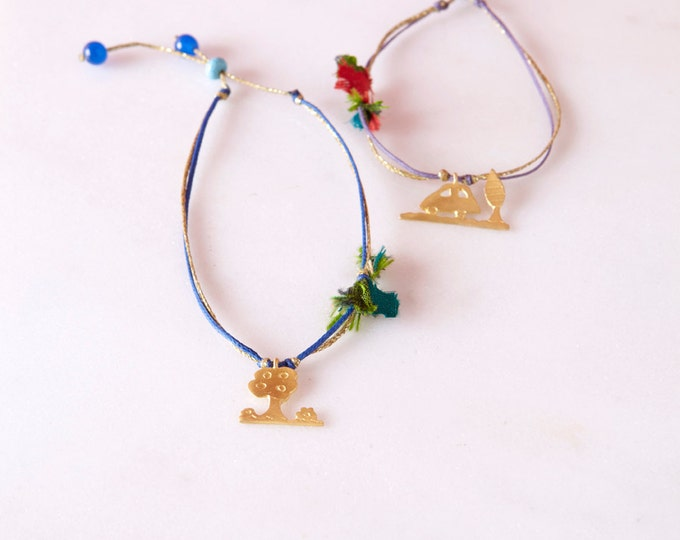 Little car golden bracelet inspired by children draws - adjustable bracelet - colourful gold plated bronze bracelet on a waxed cord