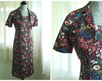 Beautiful 1960s's Two-Piece Floral Sun Dress With Matching Bolero Jacket, Size 6 to 8