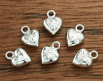 6 of 925 Sterling Silver Heart Charms 6 mm. :th2284