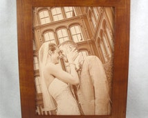 3rd Anniversary LEATHER PHOTOGRAPH Engraved in Real Leather - Wedding, Third Anniversary or Family Photos Engraved into Leather