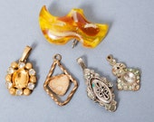 SALE...Lot of Vintage metal charms and brooch