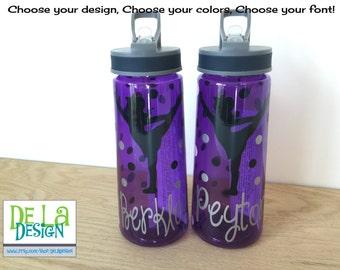 Personalized clear plastic sport water bottle flip top w for Pretty plastic bottles