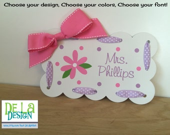"""Personalized Teacher desk plate, wall or door sign, scalloped magnetic board, 9.5""""x6"""", Flower or other design, name, ribbon, teacher gift"""