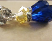 Crystal Earrings, Sapphire Blue and Yellow,  Bridal, Wedding, Bridesmaid, Formal, Prom,SRAJD