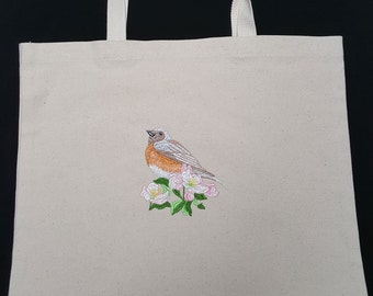 Tote Bag with Bird on Flowered Branch