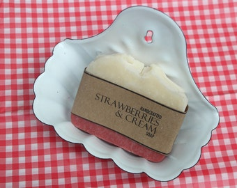 Strawberries and Cream Soap Handcrafted Cold Process Vegan Friendly Soap