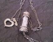 White Sea Glass in Antiqued Silver Pendant