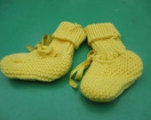 Beautiful Yellow Socks Hand Knitted for a Baby Boy or Girl.