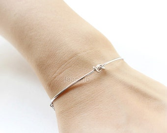 Simple Knot Bracelet / Love Knot bracelet, gold and silver
