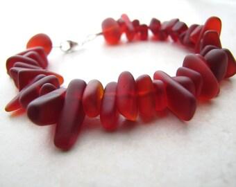 Seaglass Bracelet, Sea Glass Bracelet, Orange Seaglass, Beach Jewelry, Beach Bracelet, Ocean Bracelet, Sunset, Fire